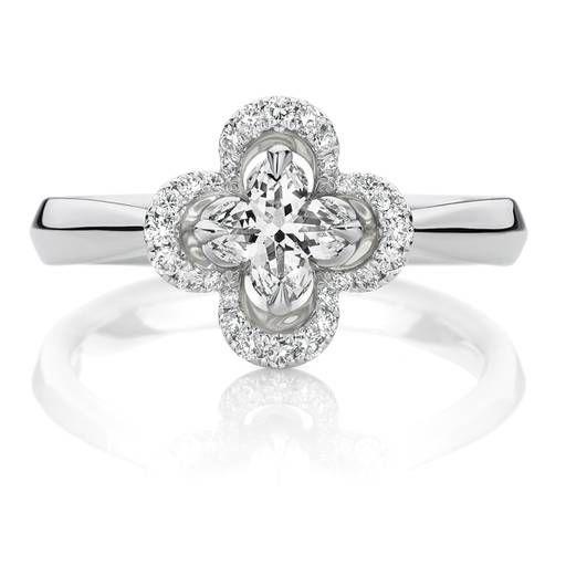 18ct White Gold Lily® Cut Diamond Halo Ring