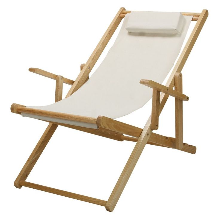 Outdoor Casual Home Sling Chair with Natural Frame Natural Canvas - 114-00/011-12