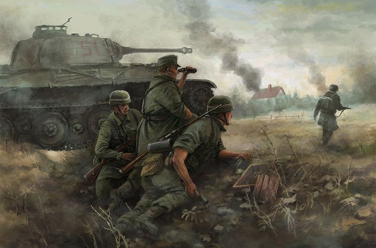 1. Op deze foto zie je 4 militairen met daarnaast een tank. In de verte zie je veel rook, waardoor het lijkt alsof er dingen in brand staan.  2. Er is vooral gebruik gemaakt van donkere kleuren. Daarnaast zijn de uniformen een duidelijk symbool voor strijd. De drie mannen liggen een beetje verscholen, waardoor duidelijk wordt dat er aan de andere kant iets ergs aan de hand is.