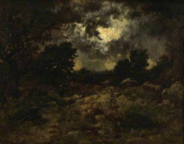 laclefdescoeurs:Storm in the Forest of Fontainebleau, 1871, Narcisse Virgilio Díaz de la Peña