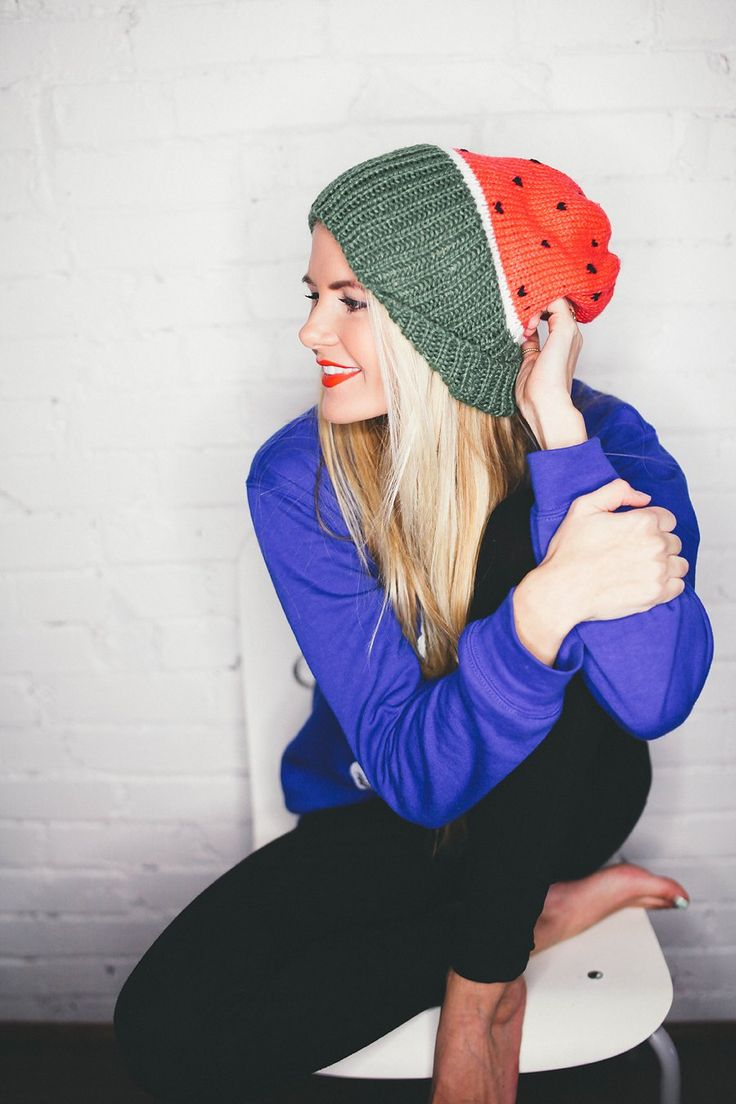 Barefoot Blonde - watermelon beanie