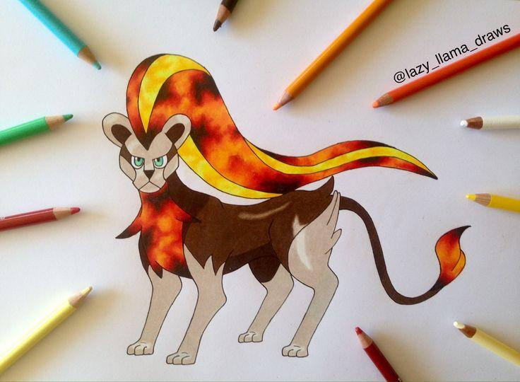 Drawing pokemon Pyroar (female)