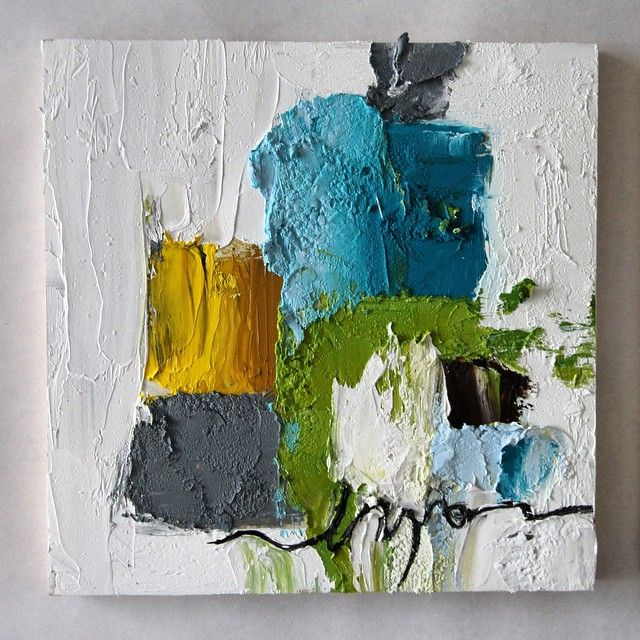 """""""abstract triptych"""" #1 in a series of 3 Oil on cradle board"""