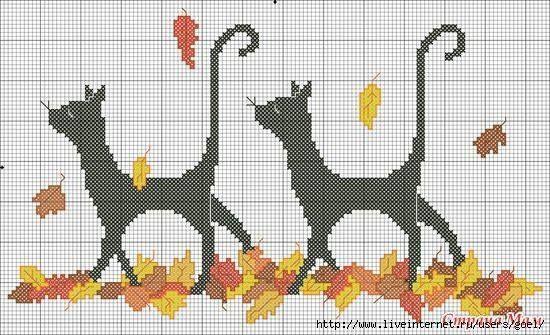 Grille point de croix avec deux jolis chats dans les feuilles d'automne