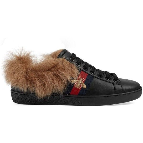 shoes, Gucci ace sneakers, Fur sneakers
