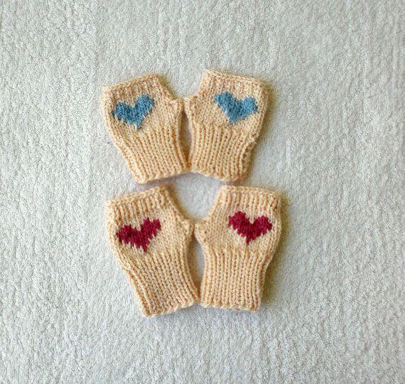 Set of 2 mittens for twinss twins fingerless by KnitterPrincess, $14.50