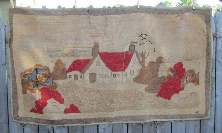 3 Antique Hook Rugs COTTAGE House Roses Flowers AS IS they are worn