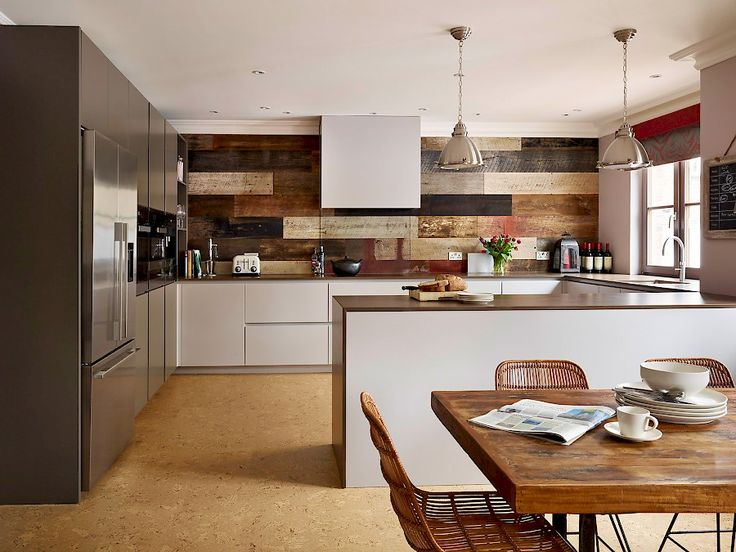 Industrial style kitchen design with open plan dining