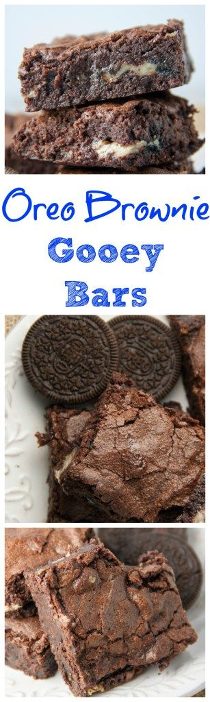 Oreo Brownie Gooey Bars- brownies get better when you pour condensed milk in the middle and add Oreos! These brownies are ooey gooey and perfect!