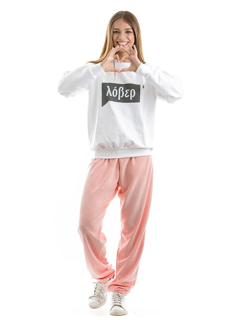 """White sweatshirt made in Greece, with the word """"LOVER"""" written in greek characters <3"""