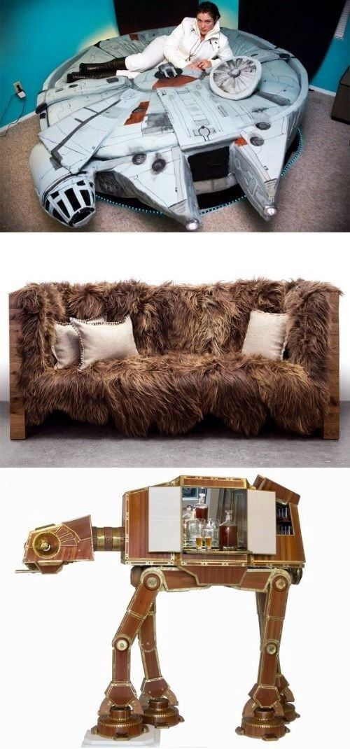 Cool Star Wars themed furniture. Millennium Falcon bed. Chewbacca couch. Walker liquor case. Han Solo fridge. Star Wars bedspread, and Yoda quote. Clone and Darth Vader lamp. Han and Leia pillows, etc.