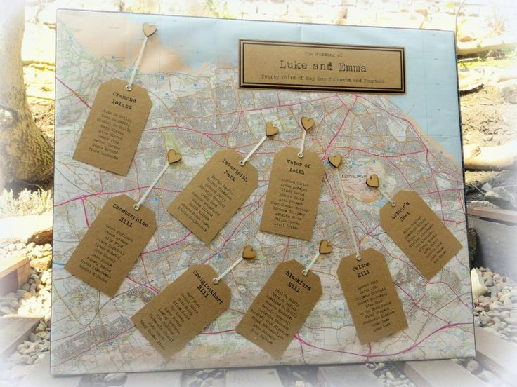 I LOVE this wedding table plan made from an Ordnance Survey map of Edinburgh! The tables were all named after hill walking areas around the city.