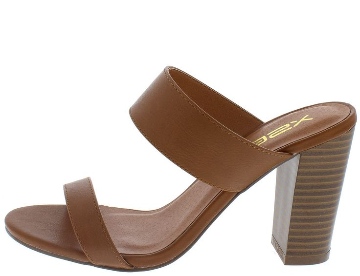 KONA4 TAN MULTI STRAP SLIP ON STACKED CHUNKY HEEL ONLY $10.88
