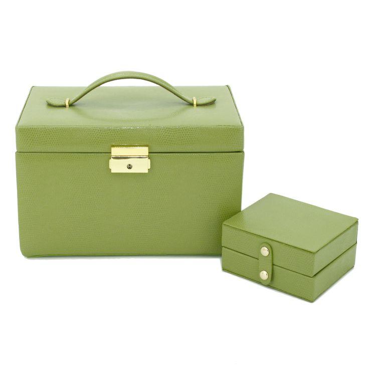Jewelry Box Genuine Leather Lime | Travel Case Tech Swiss