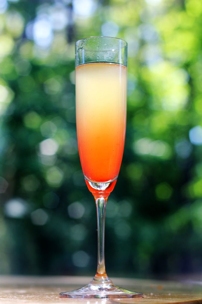 island mimosa: champagne, pineapple juice, malibu and grenadine.