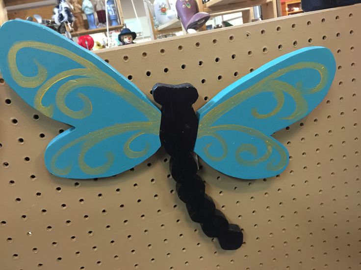 Dragonfly handmade and hand painted reclaimed pine wood.