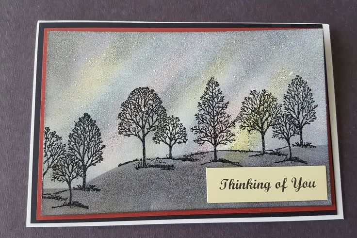 Northern Lights greeting card using the Stamping-up Tree rubber stamp