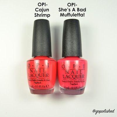 Bright red/orange nail polish comparisons. OPI Cajun Shrimp and OPI She's A Bad Muffuletta!. @gopolished