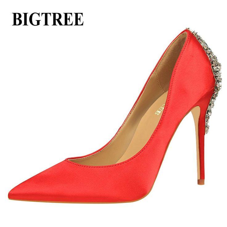 BIGTREE New Luxury Elegant Pumps Stern Schuhe Strass Satin High Heels Schuhe …