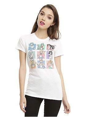 <p>Fitted white tee from <i>Sailor Moon</i> with a colorful grid of Sailor Scouts design featuring Sailor Mercury, Sailor Pluto, Sailor Mars, Sailor Neptune, Sailor Moon, Sailor Saturn, Sailor Venus, Sailor Uranus & Sailor Jupiter.</p>  <ul> 	<li>100% cotton</li> 	<li>Wash cold; dry low</li> 	<li>Imported</li> 	<li>Listed in junior sizes</li> </ul>