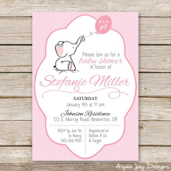 Pink Elephant Baby Shower Invites, Baby Girl Shower Invitations, Pink Elephant…