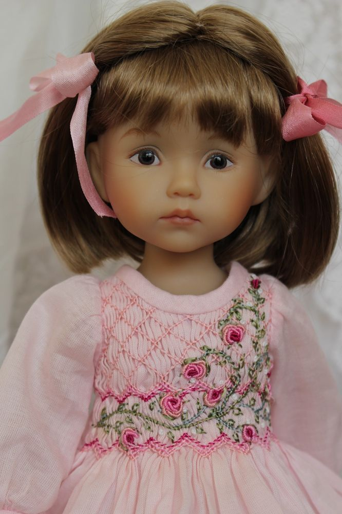 "Smocked Heirloom Ensemble for Boneka Effner 10"" Dolls by Petite Princess Designs"
