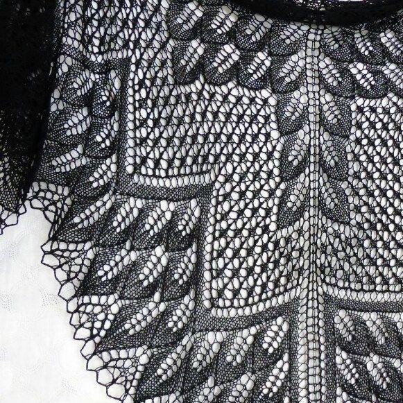 Black lace shawl, big size