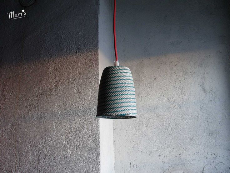 KIELO ( Lily of the valley) lampshade designed by MUM's, Finland. Style Stripes, colour turquoise on white.