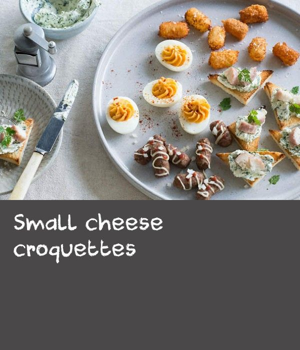 Small cheese croquettes | Thinking party? Let chef Geert Elzinga from restaurant Essen in Sydney show you how the Dutch celebrate. No Dutch party would be complete without small Dutch hot dogs or croquettes, buttery filled eggs or delicate eel toasts.