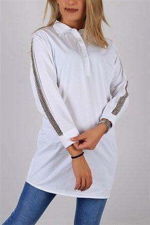İnci İşlemeli Bayan Pat Gömlek Tunik 5660B