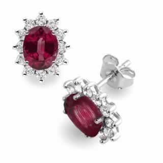Diamond Ruby Stud Earrings in 18K White Gold