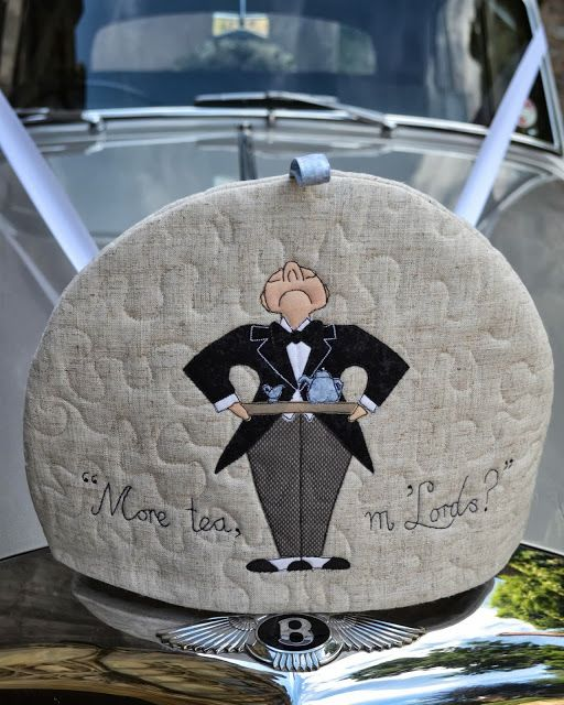 SewforSoul: Free Style / Free Motion Tea Cosy with appliqued butler!