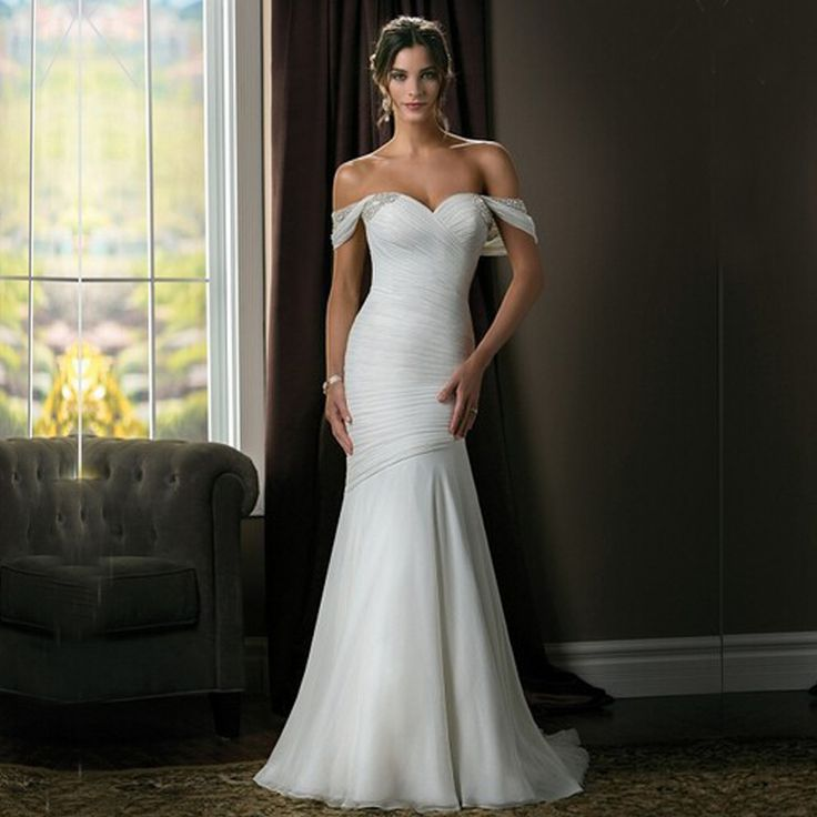 58 best wedding dresses images on pinterest short for Wedding dresses without sleeves