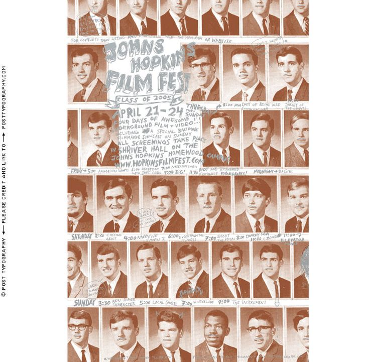 2005 Johns Hopkins Film Festival Poster design. Yearbook photos with John Waters Mustaches. Cool Film Fest Poster and promotional design. Baltimore underground film festival. (19)