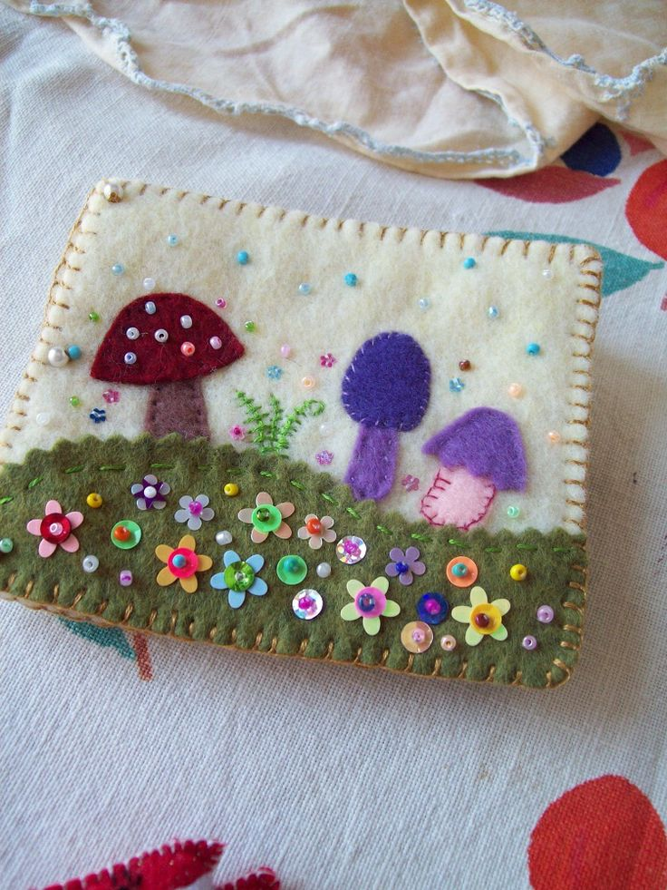 Felt Needle Book With Mushroom Motif Felt Fun