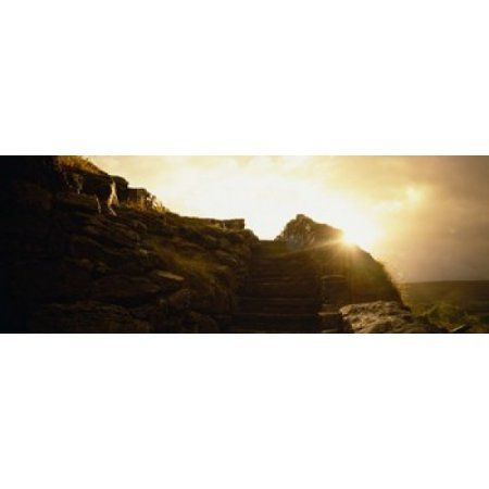 Silhouette of a cave at sunset Ailwee Cave County Clare Republic Of Ireland Canvas Art - Panoramic Images (36 x 13)