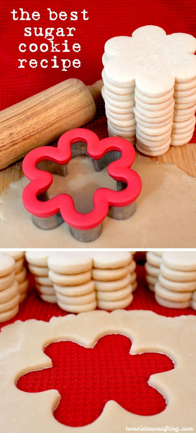 The Best Sugar Cookie Recipe - easy to make, soft, delicious and keeps the shape of the cookie cutter. For more great Cookie Recipes follow us https://www.pinterest.com/2SistersCraft/
