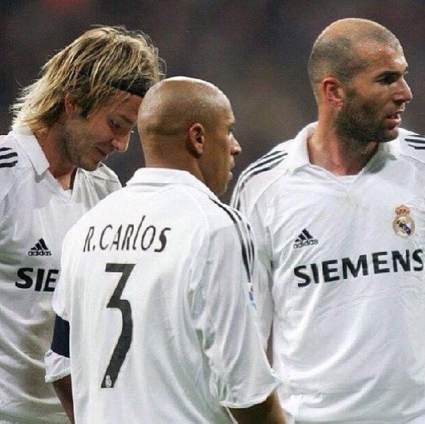 David Beckham, Roberto Carlos and Zidane Real Madrid