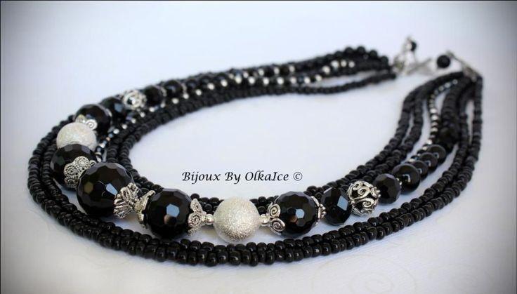 """Купить Ожерелье """"Классика"""" - классика, черное, ожерелье, колье, бусы, бисер, агат, оникс, аксессуар"""