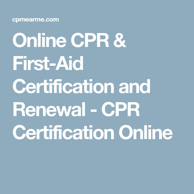Online CPR & First-Aid Certification and Renewal - CPR Certification Online