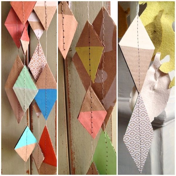 Upclycled geometric diamond cardboard garland