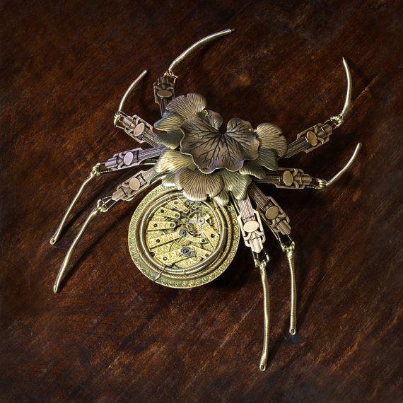 Steampunk Sculpture - Leaves Spider with Extremely rare antique pocket watch movement - Orichalcum Mechanica Folium Aranea