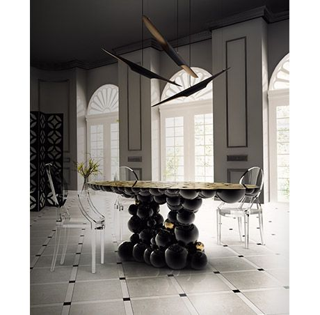 Boca do Lobo | Dining room sets: ghost dining room chairs with Newston dining room table and dining room lamps suspended. Beautiful dining room ideas | See more at diningroomideas.eu