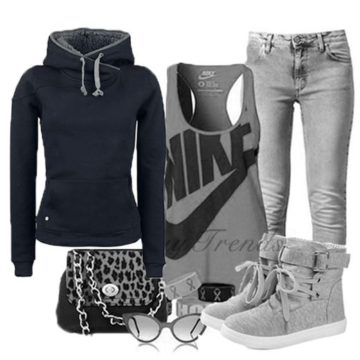 see more Loose Leisure Wool Hoodie Black, Round Toe Lace Up Metal Decorated Buckle Shoes, Jeans, Blouse