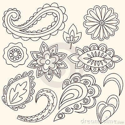 Henna Mehndi Flowers and Paisley Vector by Blue67, via Dreamstime