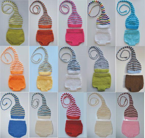 Newborn Boy Girl Diaper Cover Munchkin Hat SET Baby PHoTO PRoPs Unigender PiCK Any Color stripe Stocking Cap Knit to Order Machine Wash