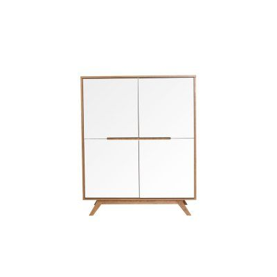 buffet scandinave haut en bois naturel et blanc 4 portes. Black Bedroom Furniture Sets. Home Design Ideas