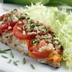 Easy baked mackerel with golden veggies