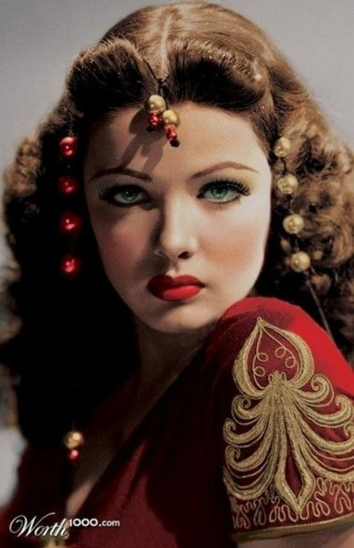 """Gene Eliza Tierney, 1920-1991. Oscar nominated actress, wife of fashion designer Oleg Cassini, suffered from mental illness but battled back to become an outspoken opponent of shock treatment. Publicity photo for 1941 film """"Sundown""""."""