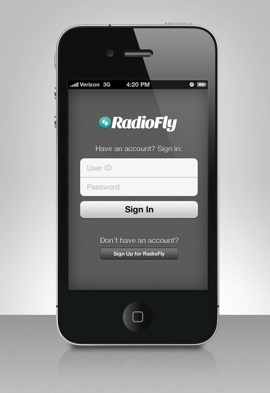RadioFly iPhone Login Screen